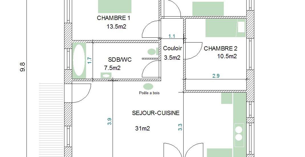 plan maison bois 80m2 la biomasse notre energie. Black Bedroom Furniture Sets. Home Design Ideas