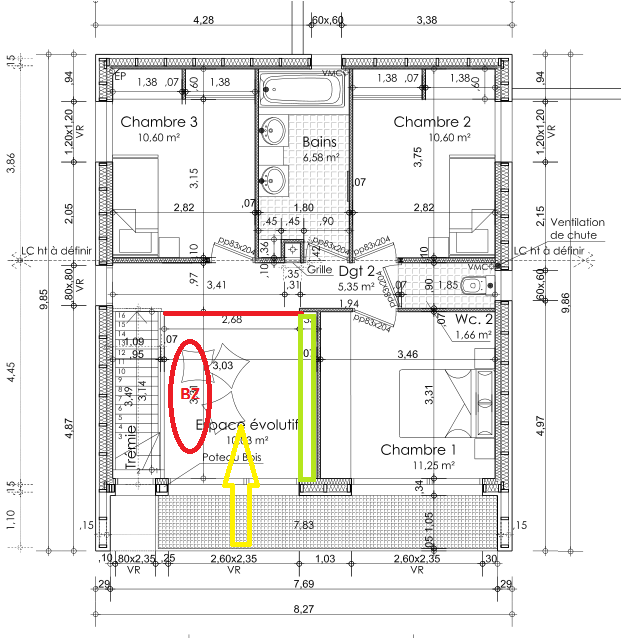 plan maison 3 chambres 100m2