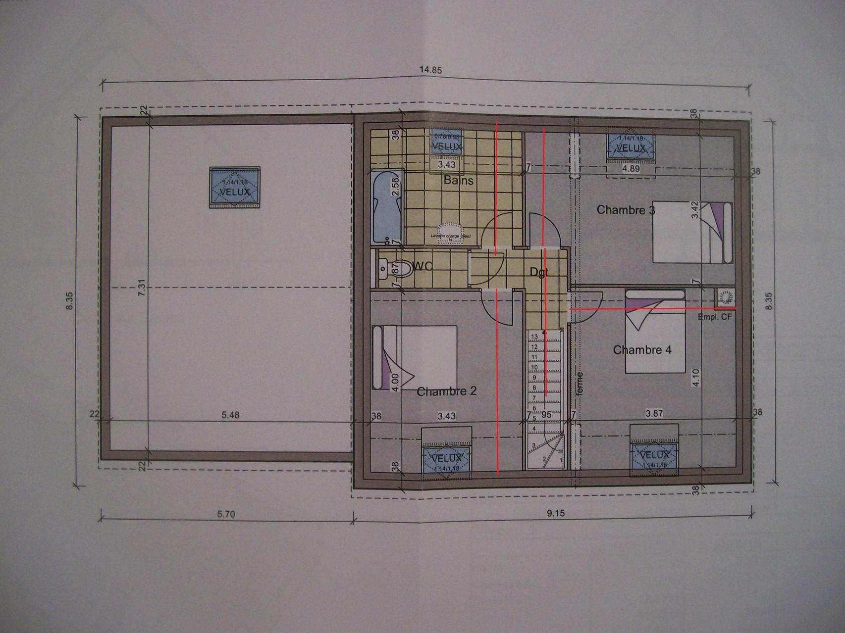 plan maison 90m2 avec étage