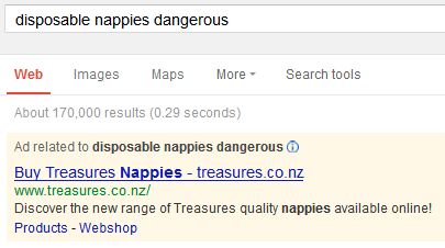 manage adwords to not be found for dangerous disposable nappies