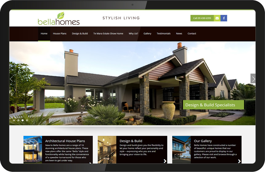 Website design for Bella Homes