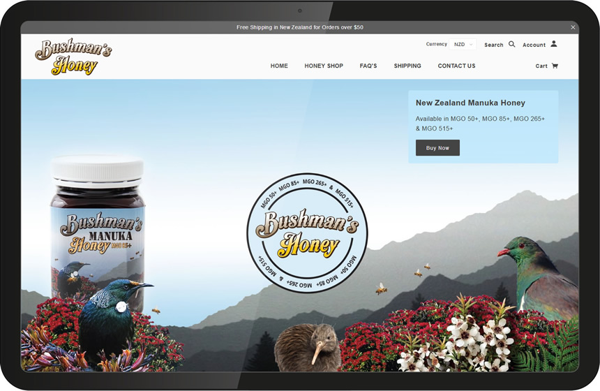 Website design for Bushmans Honey
