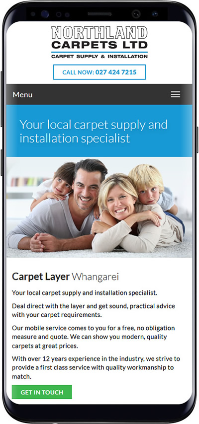 Northland Carpets mobile website design