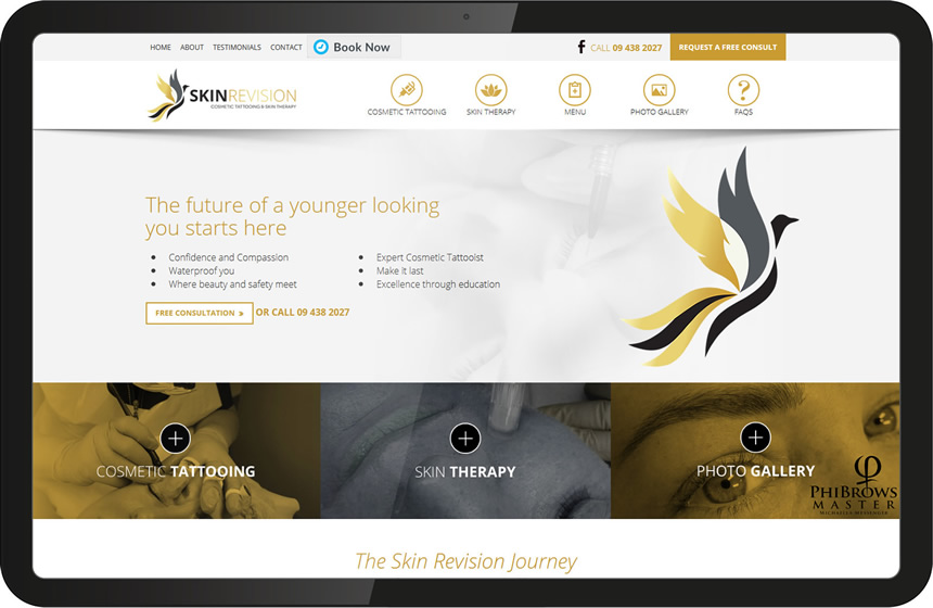 Skin Revision website design