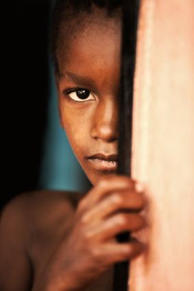 child in the door, village near Kalahari desert, Botswana