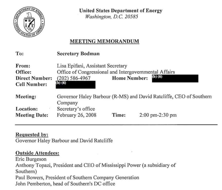 Mississippi Power and Governor Barber privately meet with Department of Energy