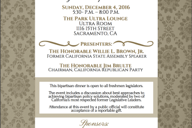 An invitation to the California Independent Petroleum Association's dinner for freshmen legislators from CIPA