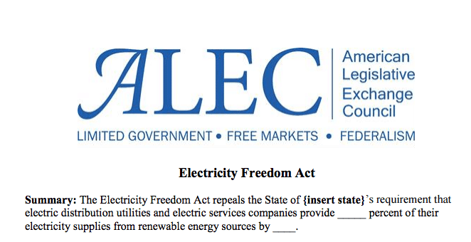 """A portion of the American Legislative Exchange Council's """"Electricity Freedom Act"""" aimed at repealing state renewable energy standards."""