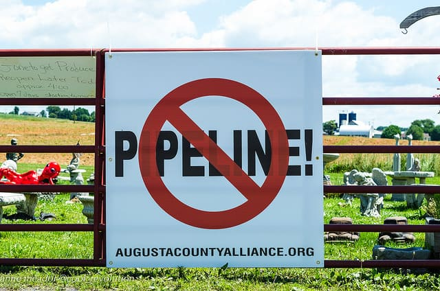 A sign protesting Dominion's Atlantic Coast Pipeline from a Virginia grassroots group.