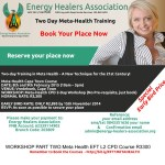 Two-day Training! Meta-Health Cape Town Course DATE: 8th and 9th February 2015 (10am – 5pm) VENUE: Vredehoek, Cape Town WORKSHOP: Meta-Health CPD 2-Day Workshop (No Pre-requisite, just book) NORMAL RATE: R3,300 EARLY BIRD RATE: ONLY R2,895 by 15th November 2014 RSVP: As soon as possible to secure your place http://bit.ly/EFT1METAHEALTH