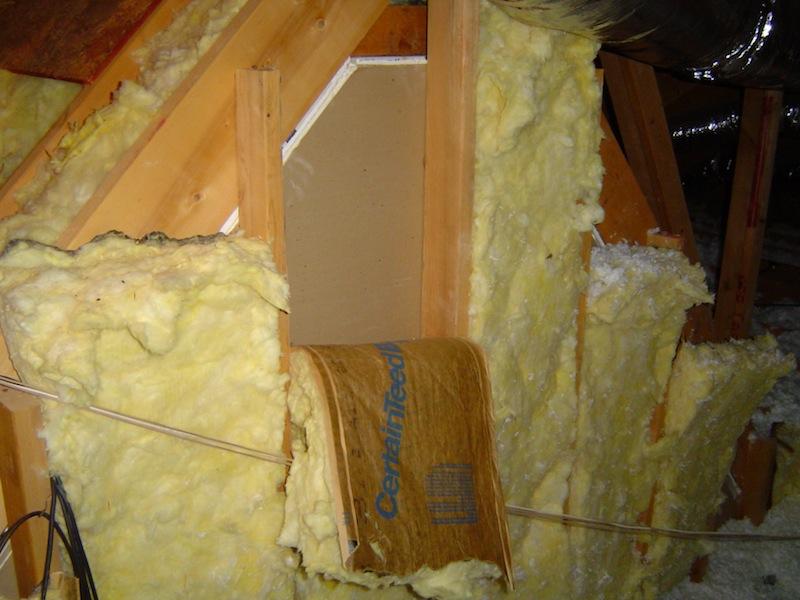 Fiberglass batt insulation doing a poor job in this attic kneewall