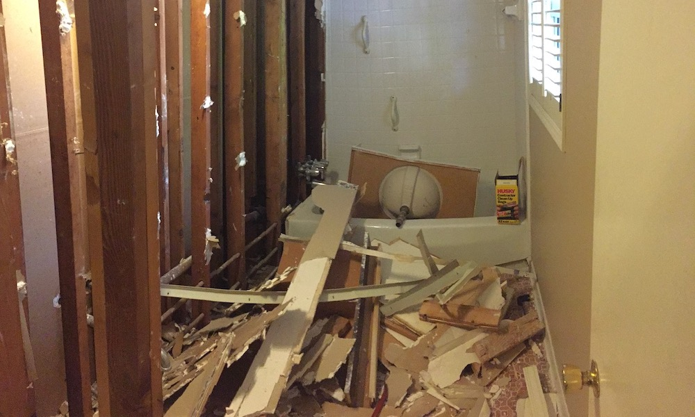 Bathroom Demolition That Led To The Discovery Of Air Flow Pathways In A Leaky Wall