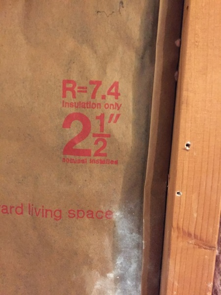 """The insulation in my bathroom wall was only 2.5"""" thick and R-7.4"""