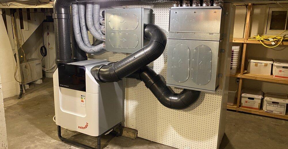 Zehnder Energy Recovery Ventilator [Photo Credit: Albert Rooks, Small Planet Supply]