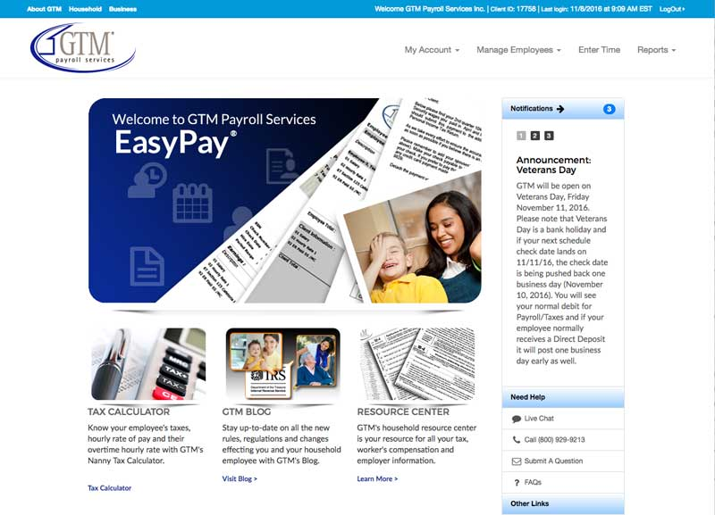 EasyPay Online Home Page before redesign