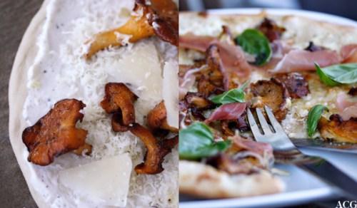 kantarellpizza med hvit pizzasaus