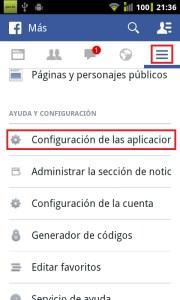 Configuración de aplicaciones de Facebook