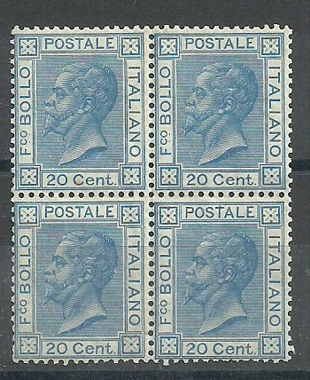 1867 Italy 20c.Bright Blue block of four