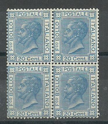 1867 Italy 20c.Bright Blue block of four