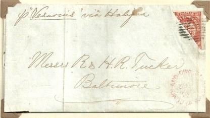 Newfoundland 1857-64 8d. Bisected