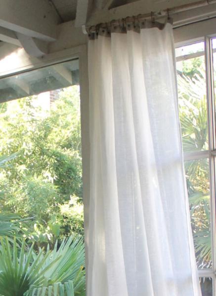 rideau voile en etamine de lin blanc