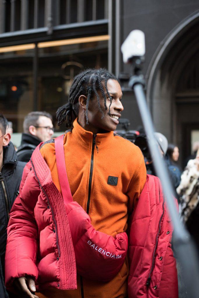 A$AP Rocky in a full Balenciaga look at NYFW