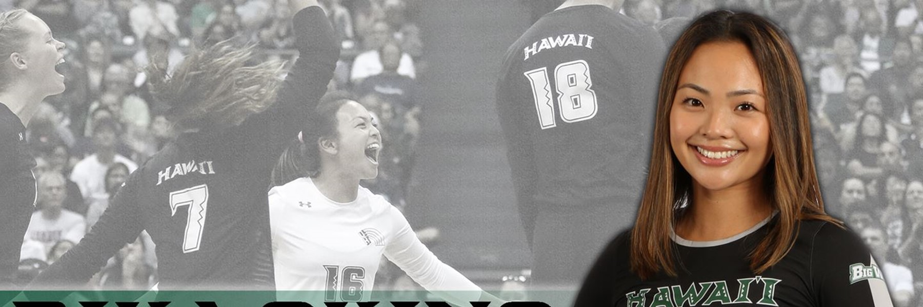 Portrait of Rika Okino with background image playing volleyball.