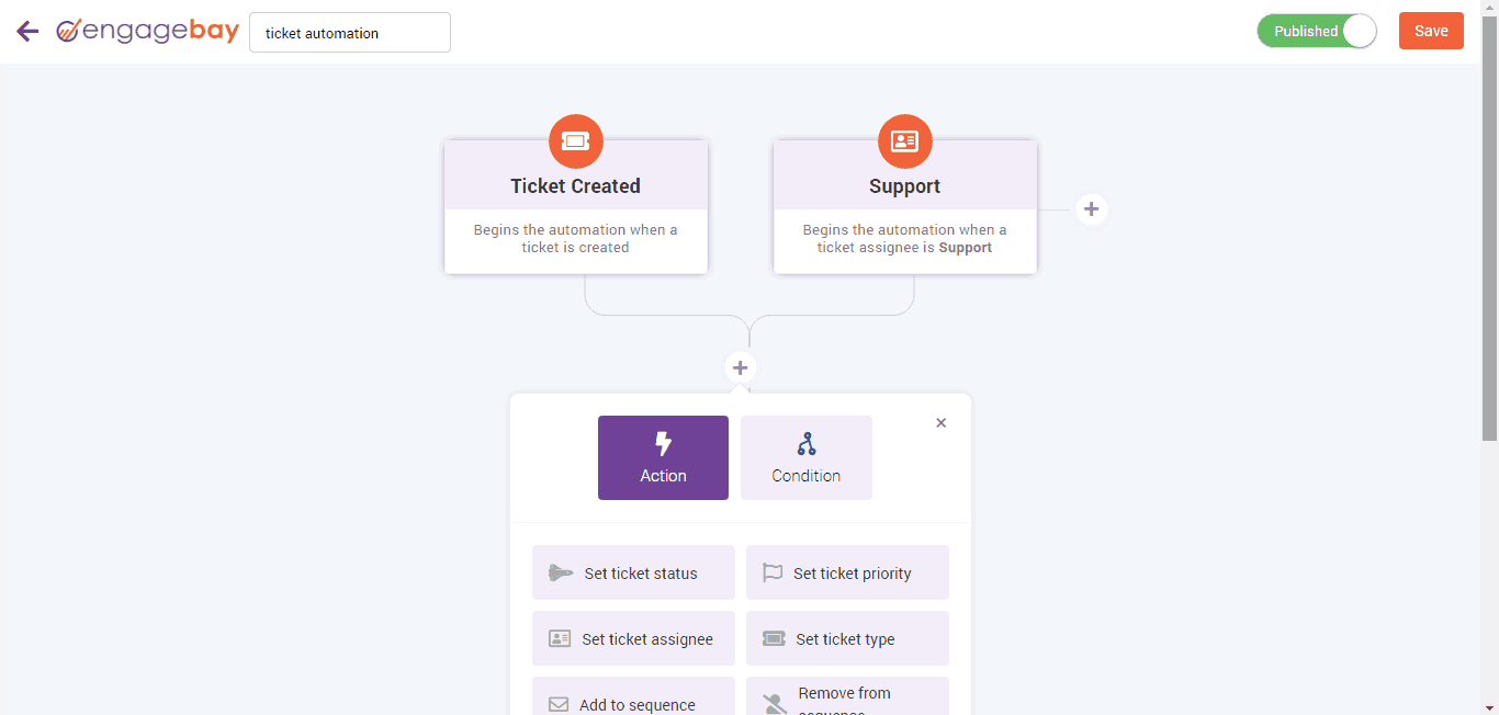 EngageBay Help Desk Automation