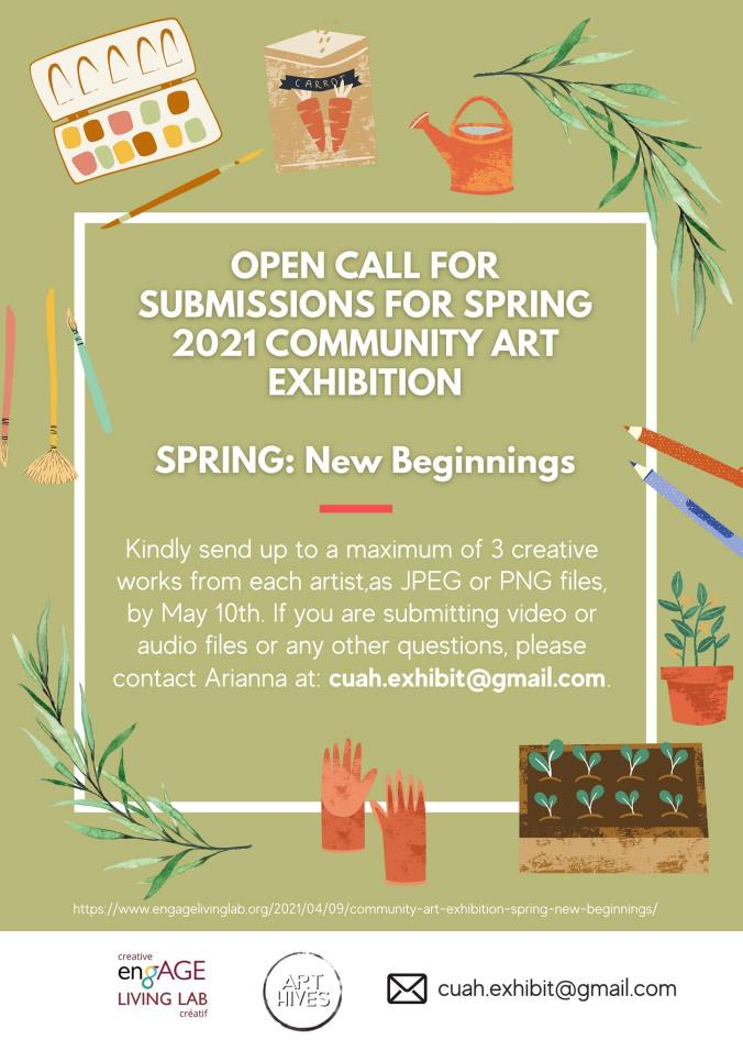 call for submissions. 2021 Community Art Exhibit. Theme:Spring, new beginnings.