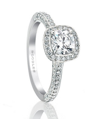 Platinum Vintage Cushion Cut Diamond Ring