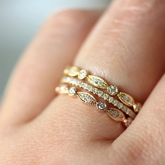 stacked wedding rings trend alert stacked rings 7656