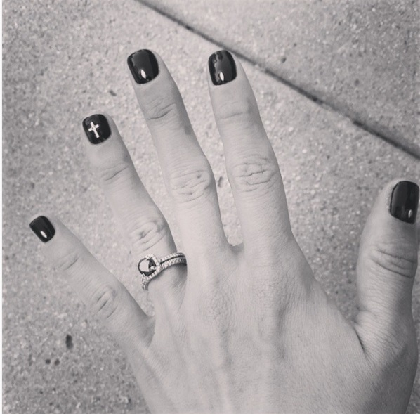 Shenae Grimes' 1 Carat Square Cut Black Diamond Ring