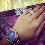 Leila Lopes' Square Shaped Diamond Ring