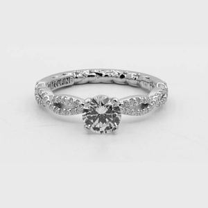 Diamond Engagement ring with cross over band in White Gold Top view