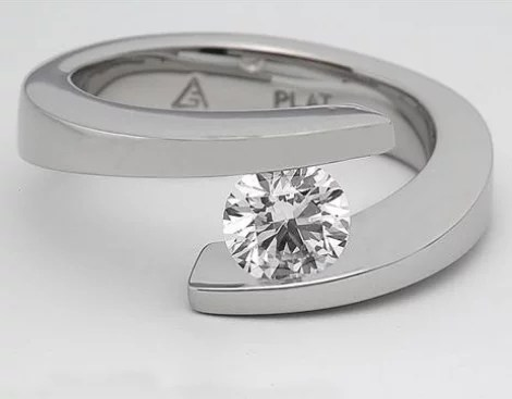 Platinum Spiral Tension Set Engagement Ring Engagement