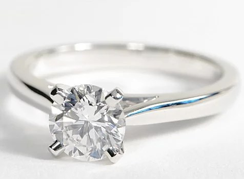 Solitaire Engagement Ring With Tapered Cathedral Setting