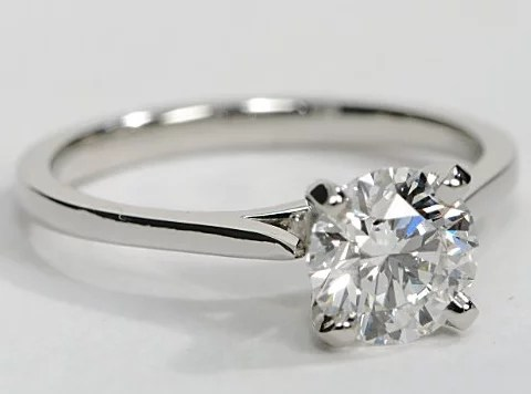 Petite Thin Band Cathedral Solitaire Engagement Ring In