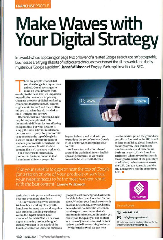 Engage Web features in The Franchise Magazine Engage Web