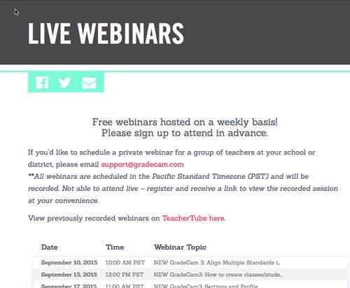gradecam training webinars