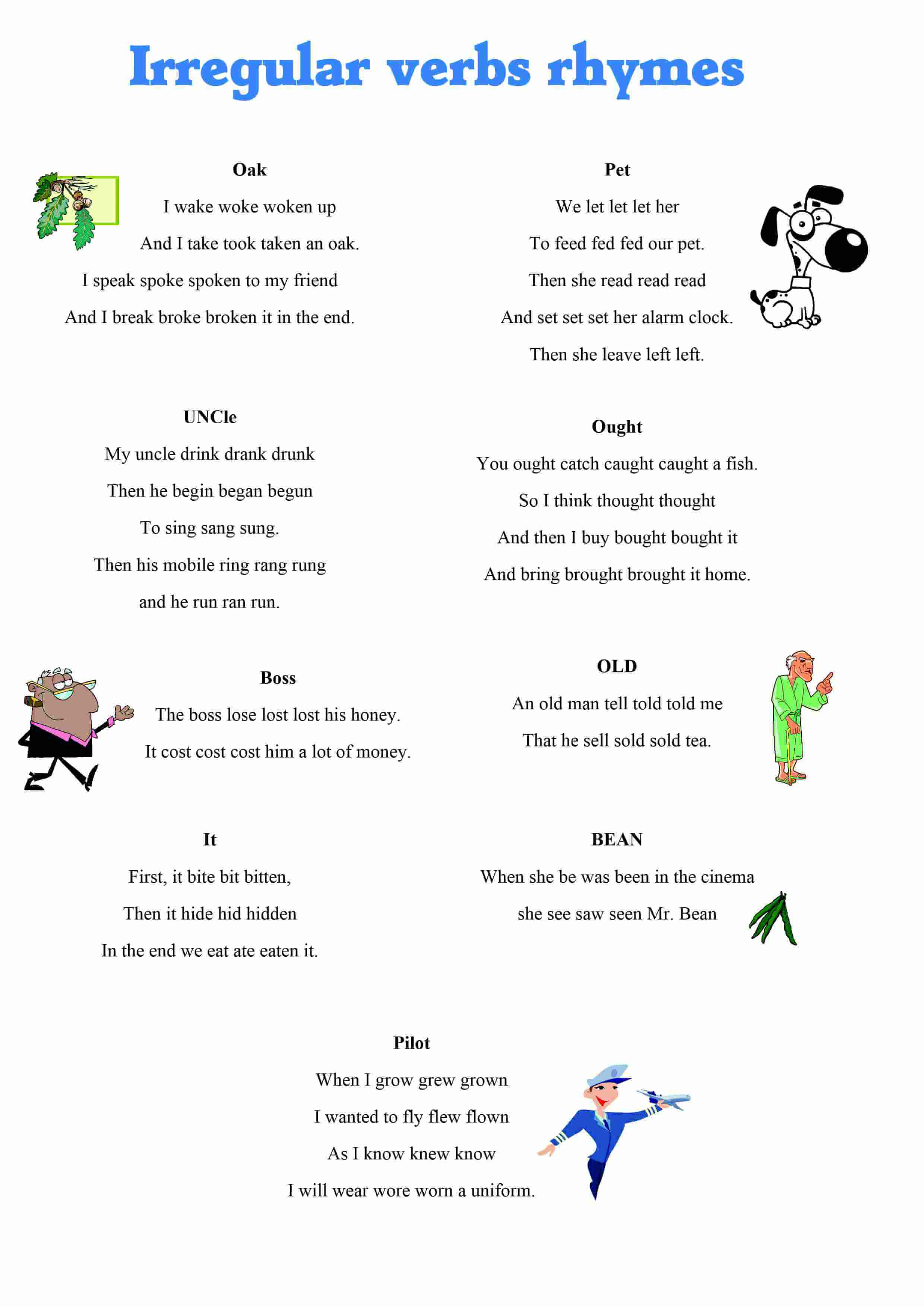 Irregular Verbs Rhymes Picture Web