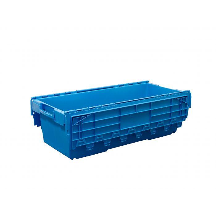 grand bac navette gerbable avec couvercle 130 litres 116x48x36 cm bleu