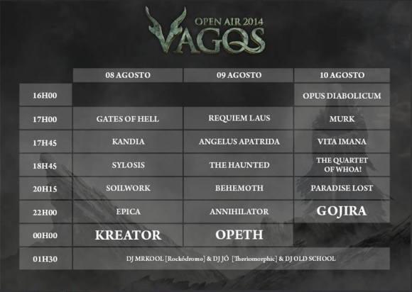 Horários das atuações Vagos Open Air 2014
