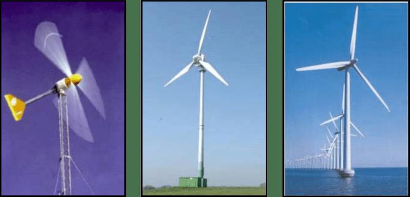 Exemplo de aerogeradores de pequeno, médio e grande porte