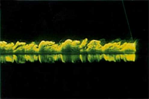 Side view of the large eddies in a turbulent boundary layer