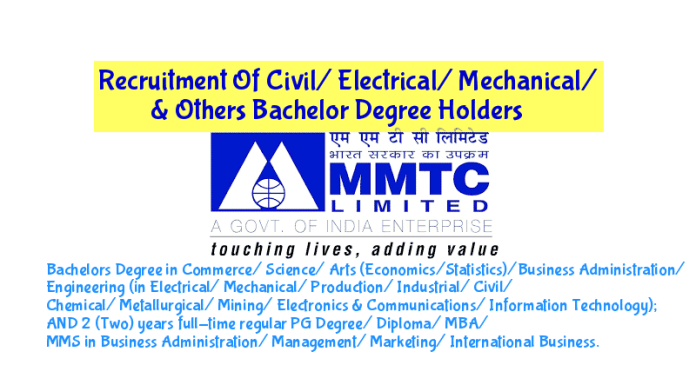 MMTC Limited Recruitment Of Civil Electrical Mechanical & Others Bachelor Degree Holders