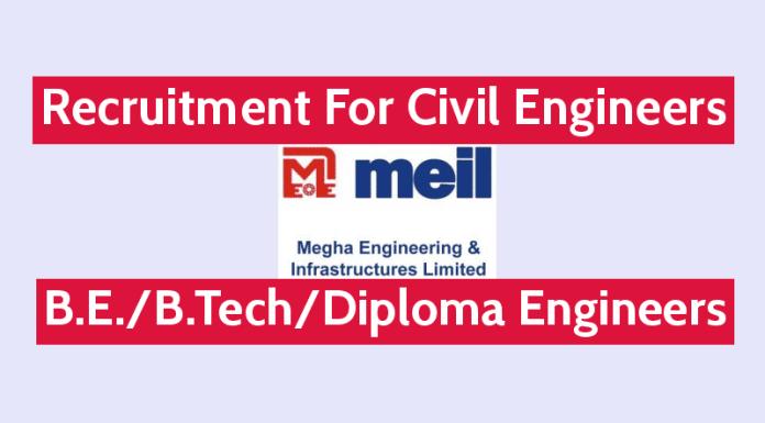 Megha Engineering and Infrastructures Ltd Is Hiring Civil Engineers B.E.B.TechDiploma