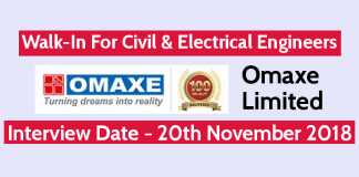 Omaxe Limited Walk-In For Civil & Electrical Engineers Interview Date - 20th November 2018