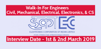ECIL Jobs Walk-In For Engineers - Civil, Mechanical, Electrical, Electronics, & CS Interview Date - 1st & 2nd March 2019
