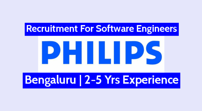 Philips India Limited Hiring Software Engineers Bengaluru 2-5 Yrs Experience