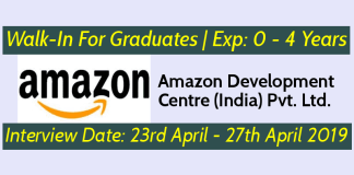 Amazon Walk-In For Graduates Exp 0 - 4 Years Interview Date 23rd April - 27th April 2019
